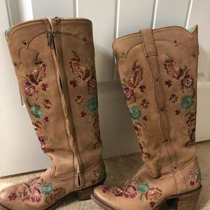 Tall embroidered leather boots